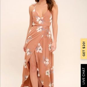 All Mine Rusty Rose Floral Print High-Low Wrap